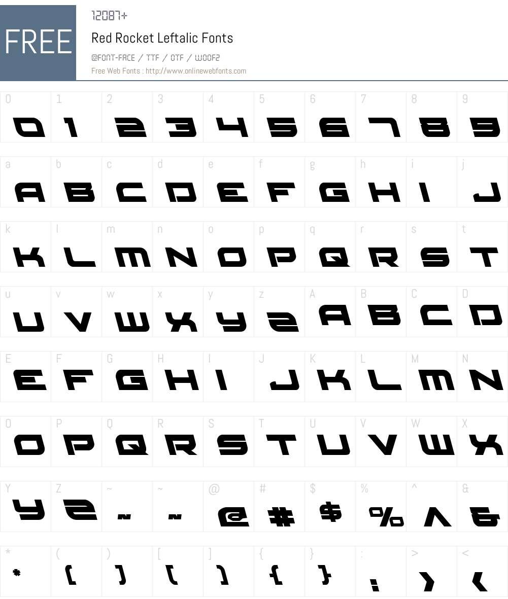 Red Rocket Leftalic Font Screenshots