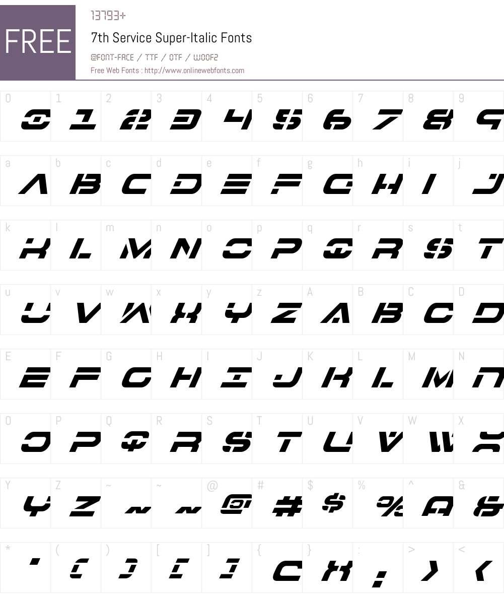 7th Service Super-Italic Font Screenshots