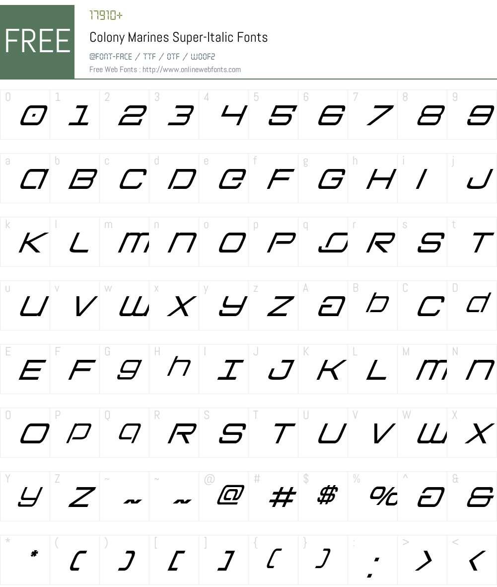 Colony Marines Super-Italic Font Screenshots