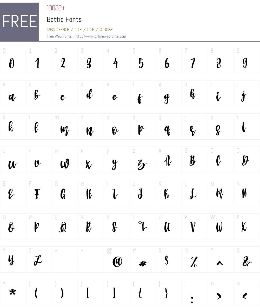 Battic Font Screenshots