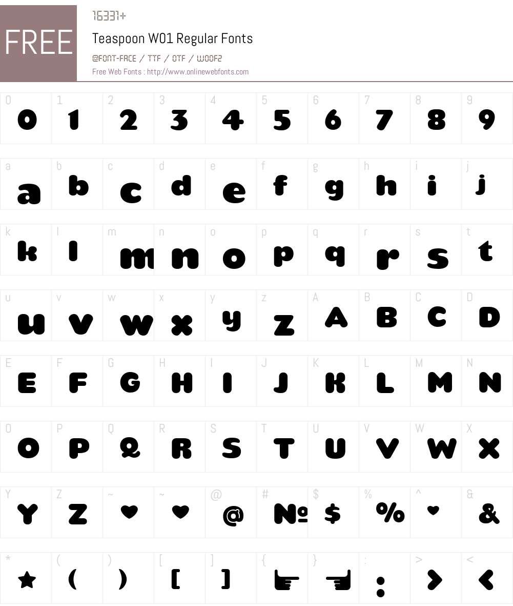 TeaspoonW01-Regular Font Screenshots