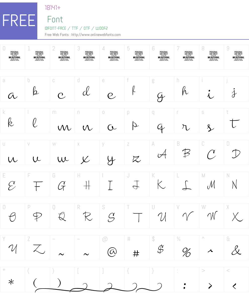 Chinal Light PERSONAL USE ONLY Font Screenshots