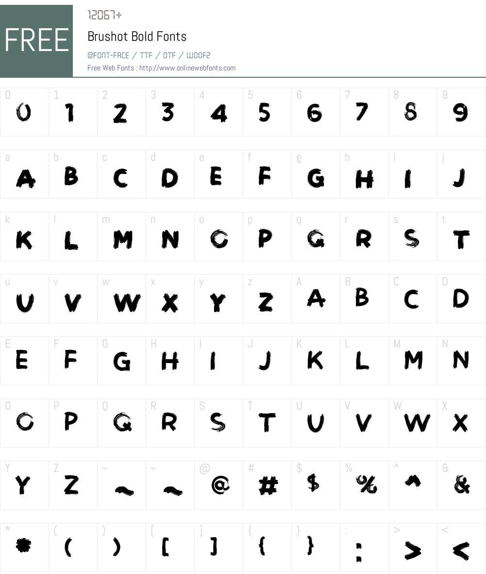 Brushot Font Screenshots