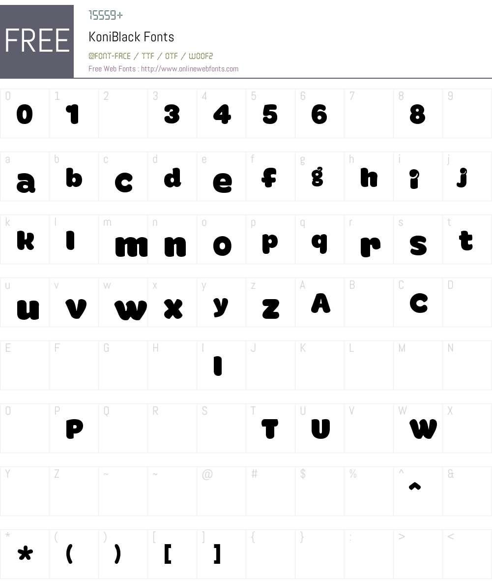 KoniBlack Font Screenshots