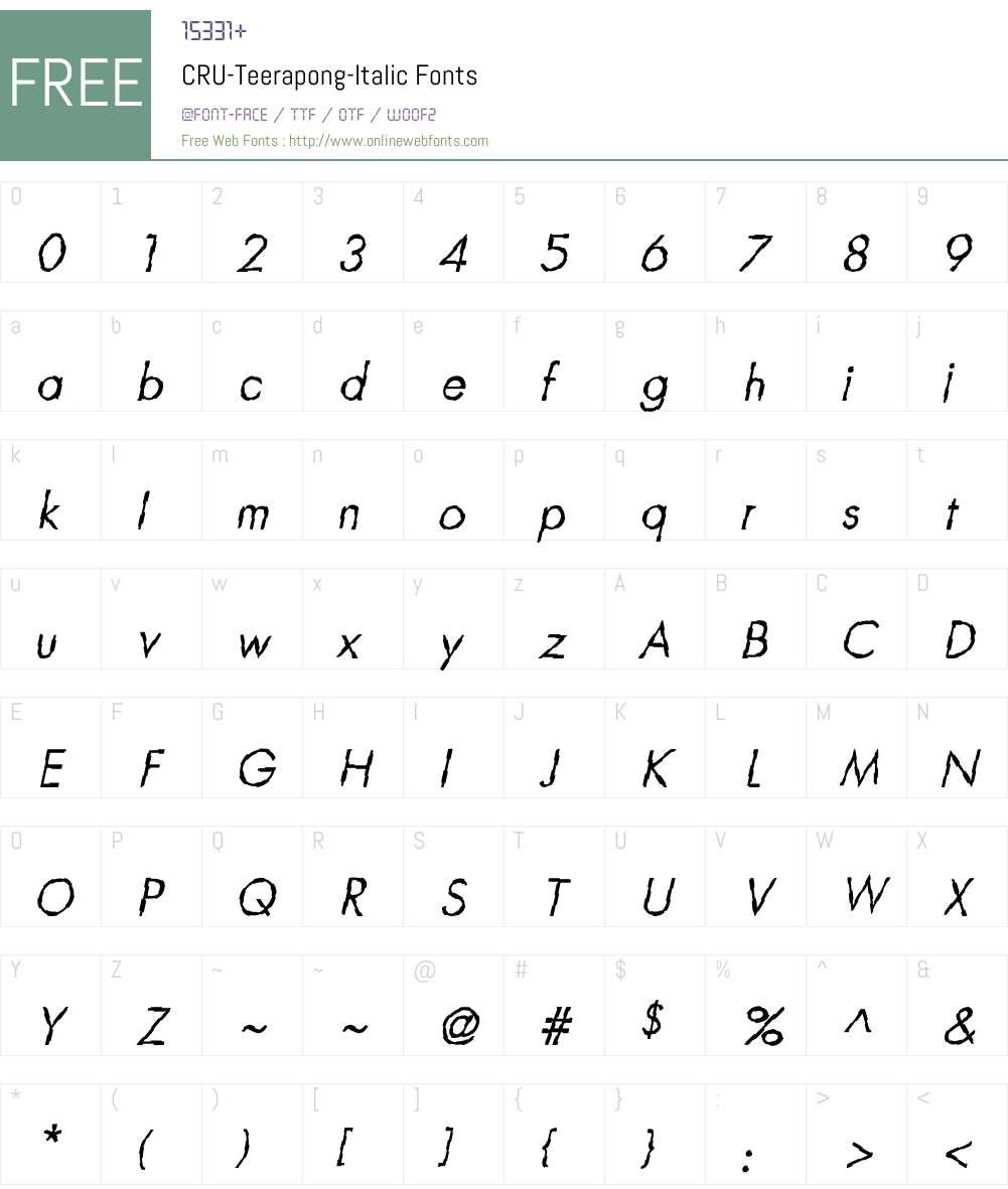 CRU-Teerapong-Italic Font Screenshots