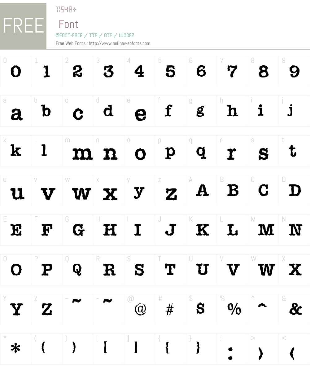 TypewriterRandom Font Screenshots