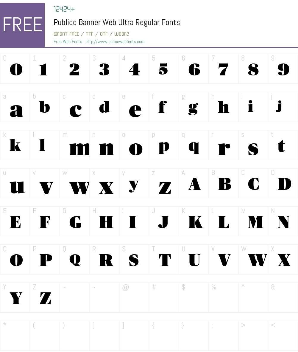 Publico Banner Web Ultra Font Screenshots
