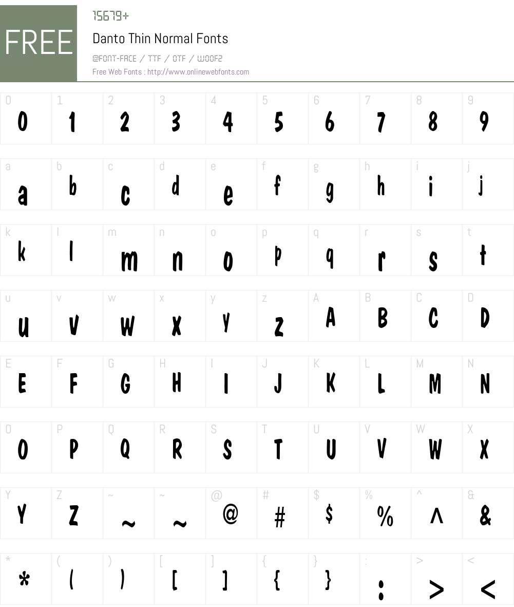Danto Thin Font Screenshots