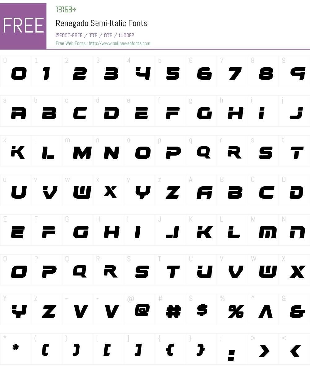 Renegado Semi-Italic Font Screenshots