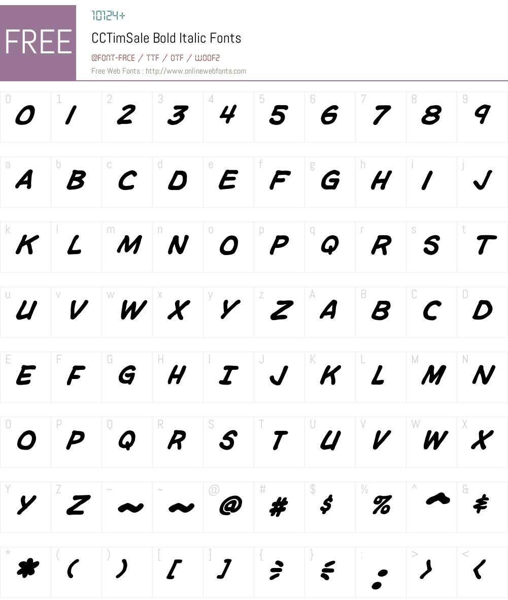 CCTimSale-BoldItalic Font Screenshots