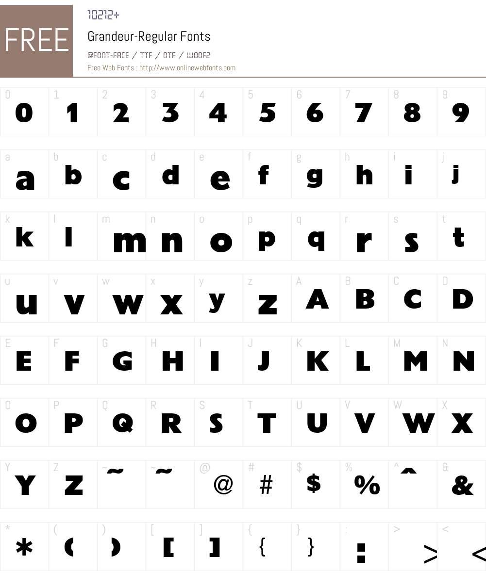 Grandeur Font Screenshots