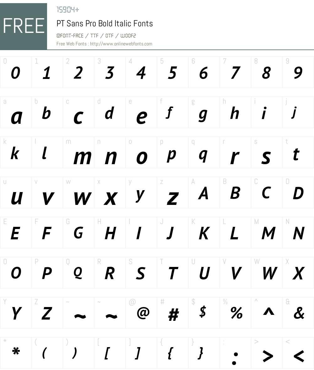 PTSansPro-BoldItalic Font Screenshots
