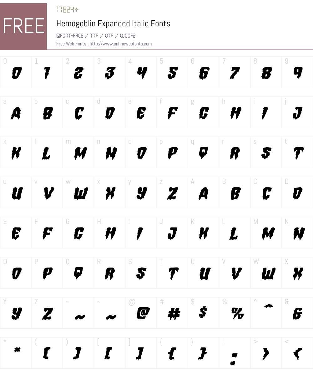 Hemogoblin Expanded Italic Font Screenshots
