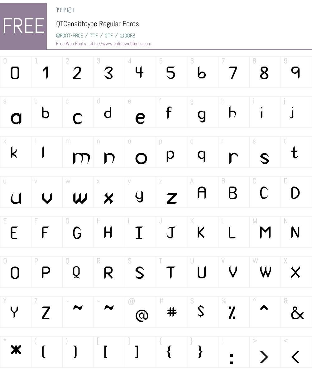 QTCanaithtype Font Screenshots