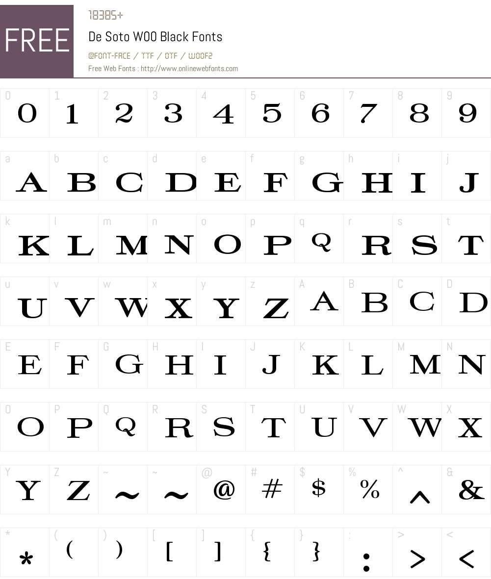 DeSotoW00-Black Font Screenshots