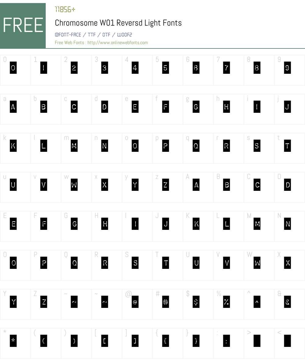 ChromosomeW01-ReversdLight Font Screenshots