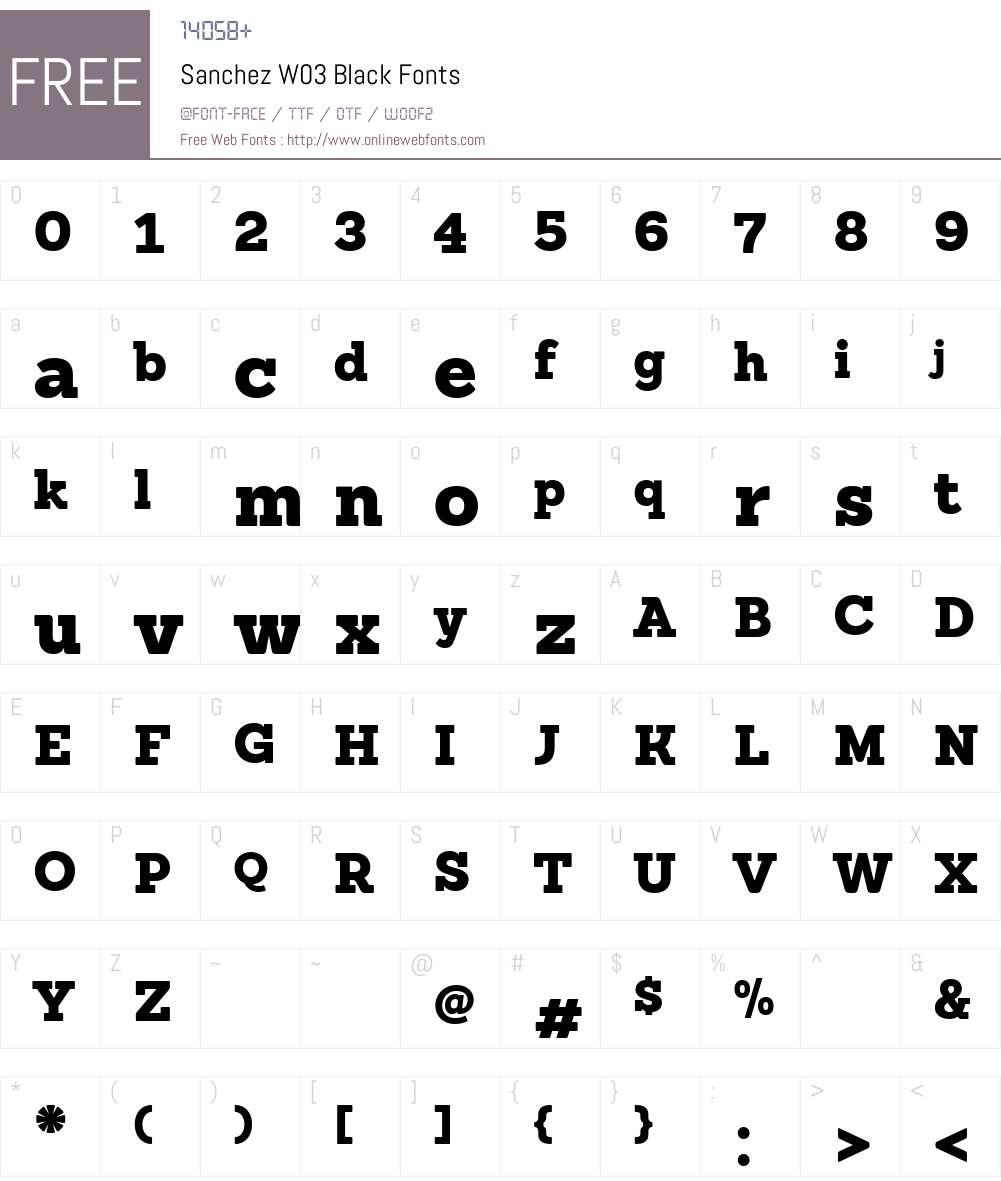 SanchezW03-Black Font Screenshots