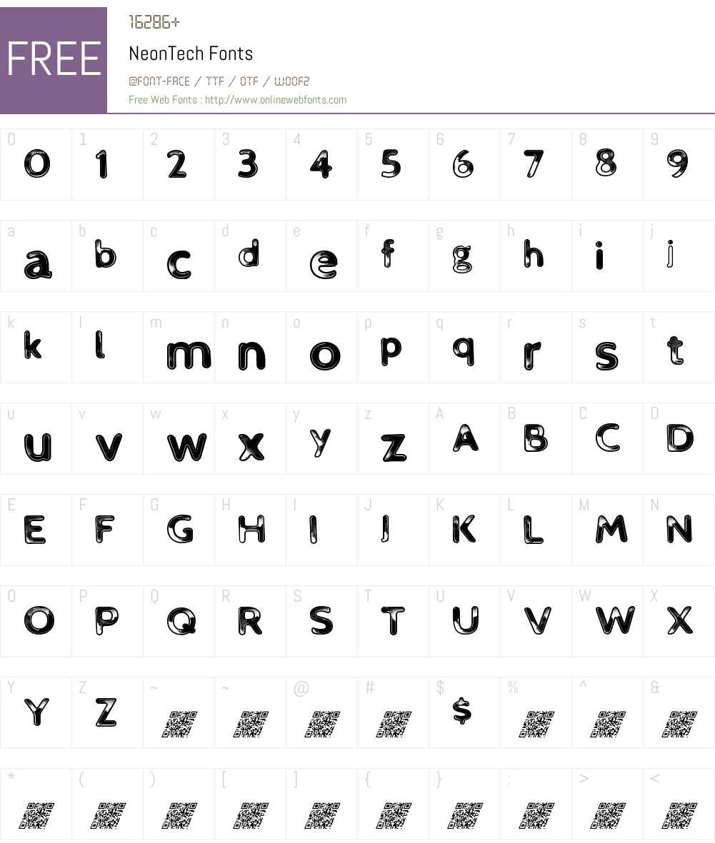 NeonTech Font Screenshots