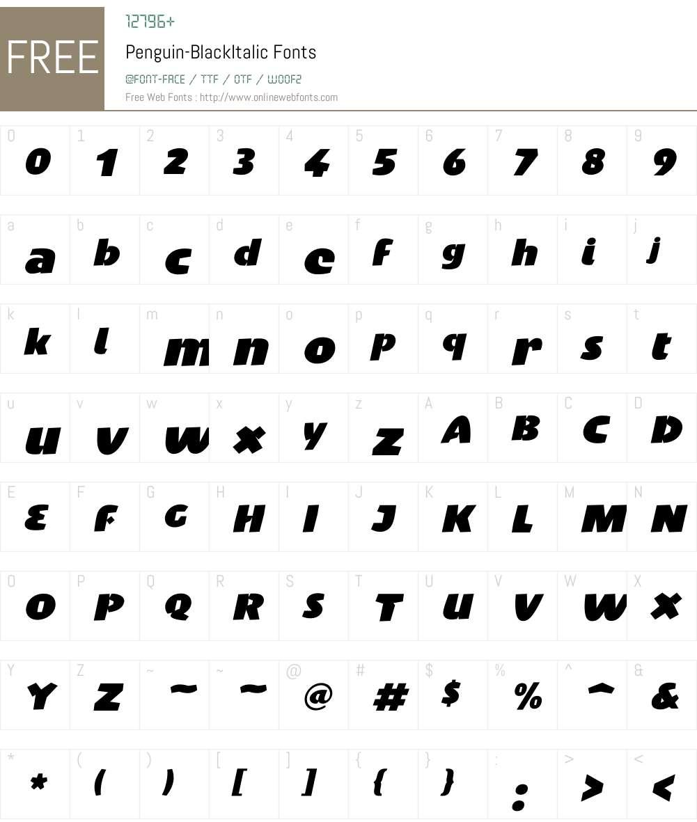 Penguin Font Screenshots