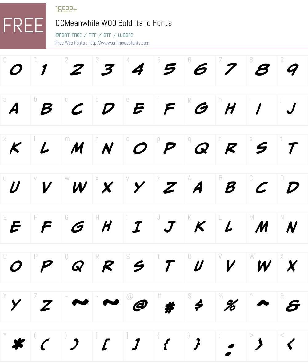CCMeanwhileW00-BoldItalic Font Screenshots