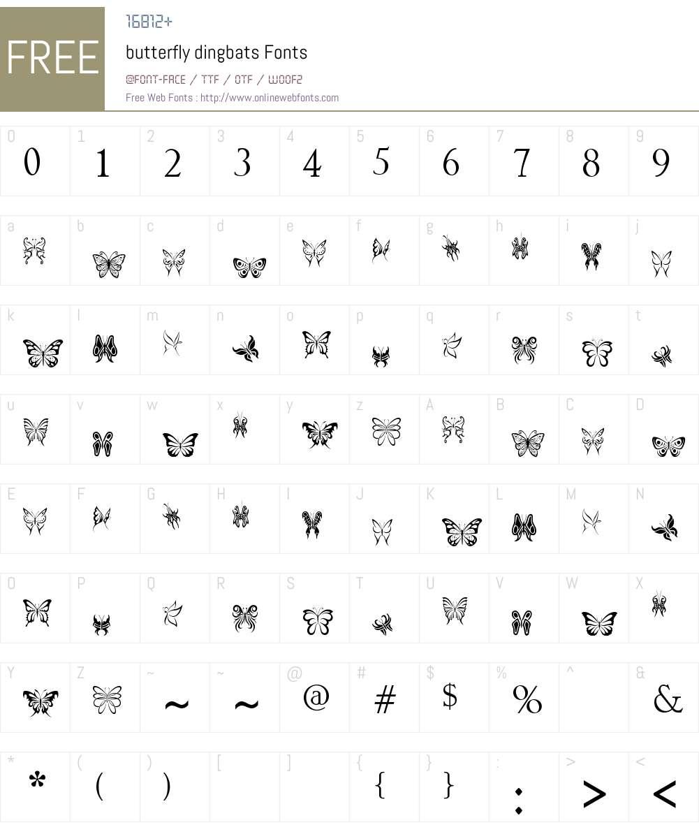 butterfly dingbats Font Screenshots