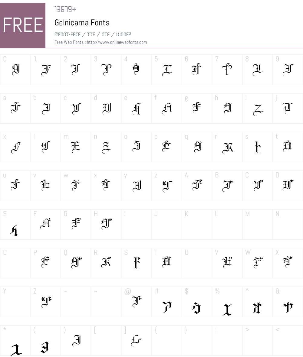 Gelnicarna Font Screenshots