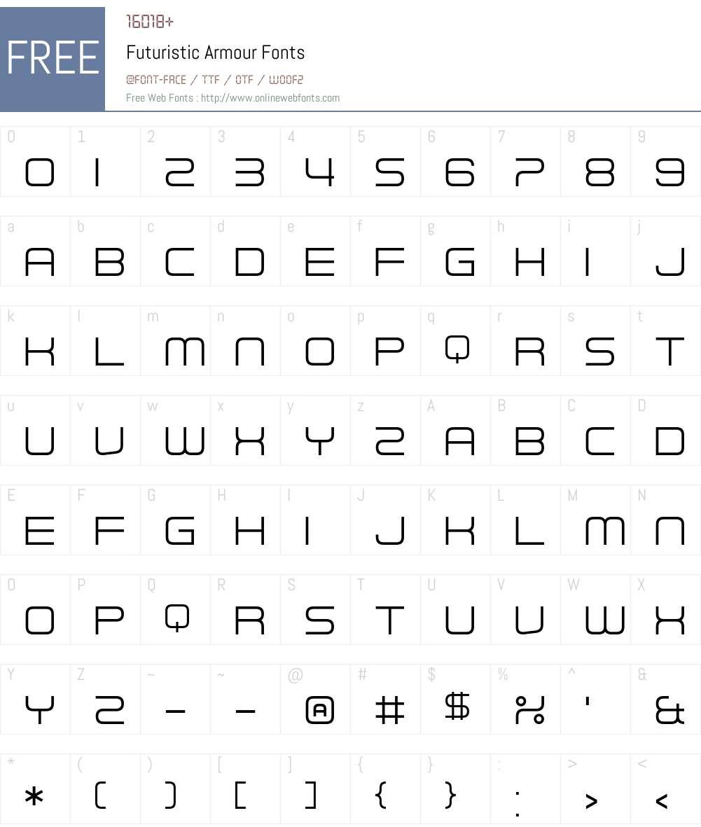 Futuristic Armour Font Screenshots