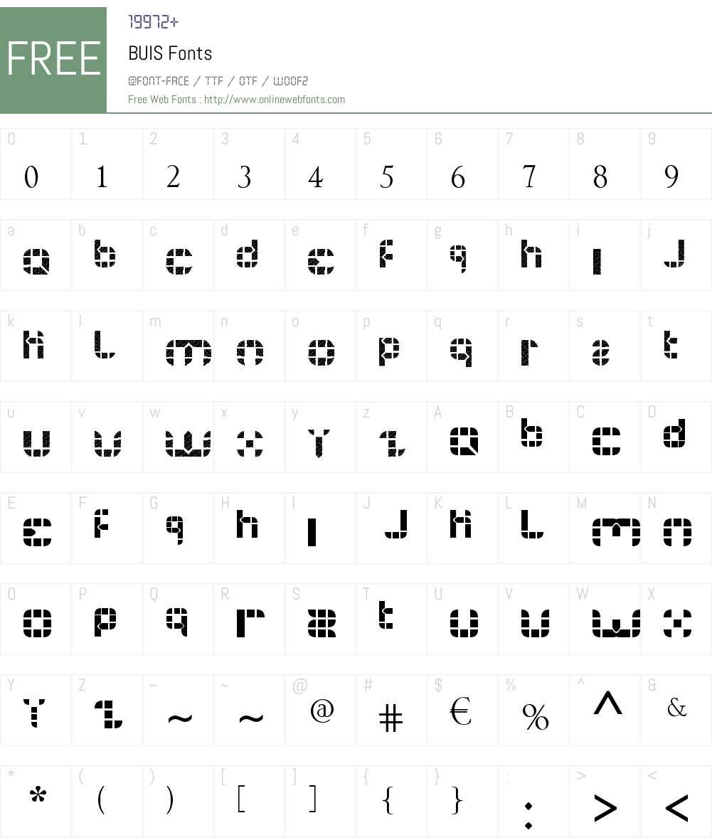 BUIS Font Screenshots