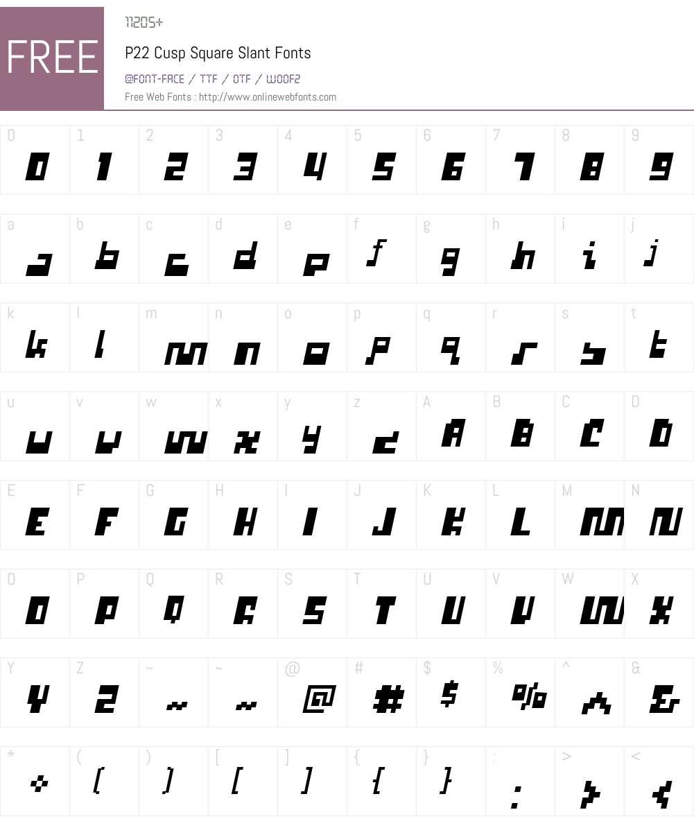 P22 Cusp Square Slant Font Screenshots