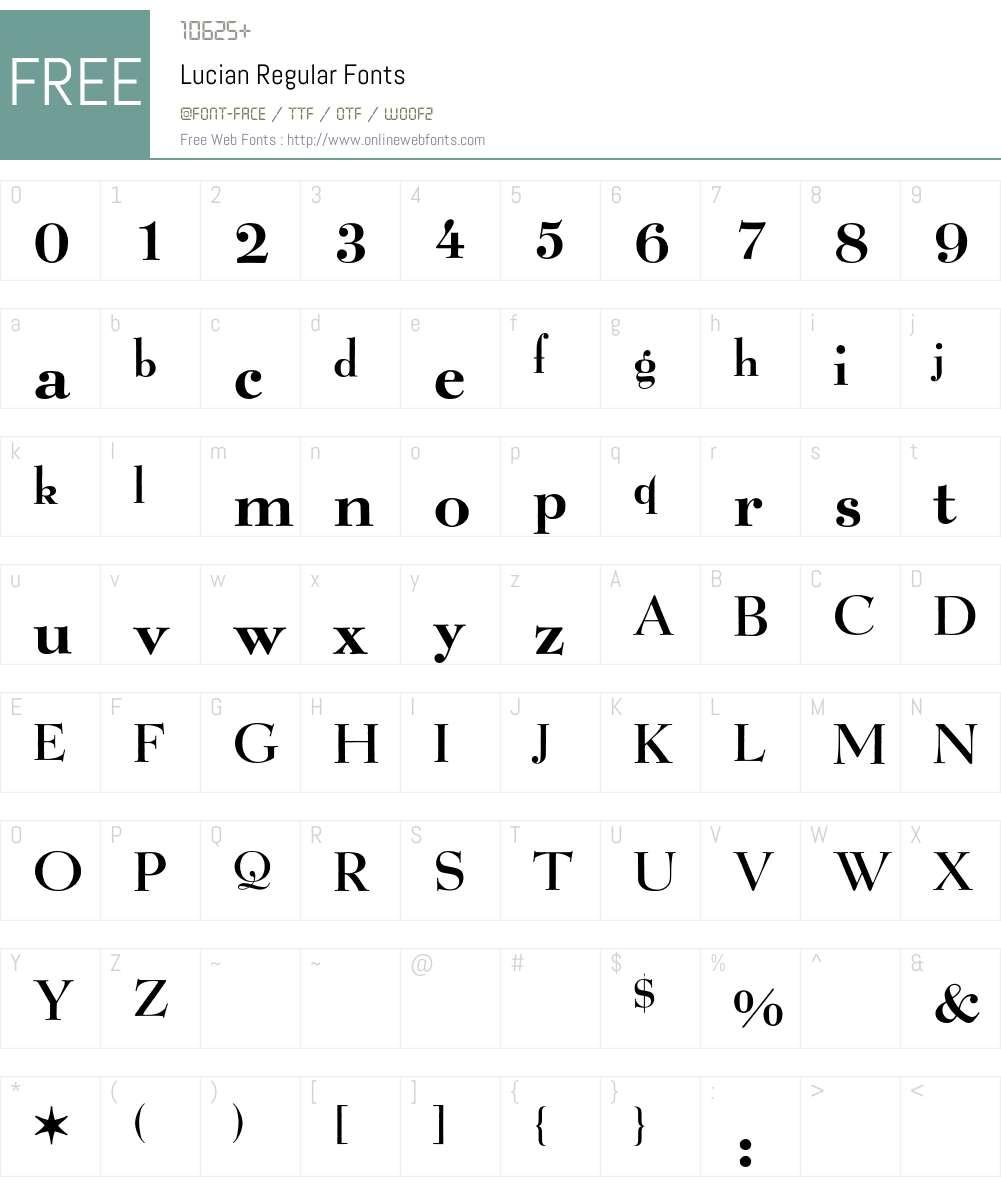 Lucian BQ Font Screenshots