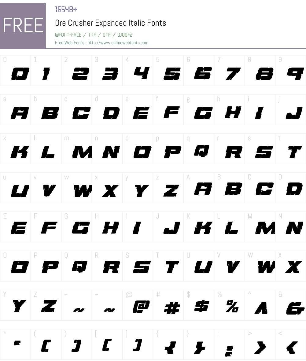 Ore Crusher Expanded Italic Font Screenshots
