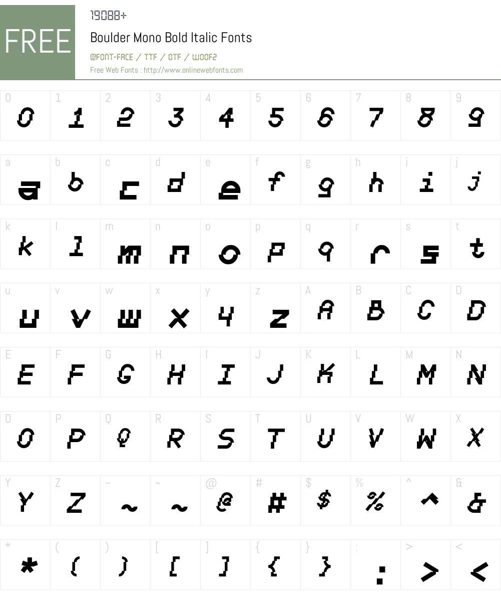 Boulder Mono Font Screenshots
