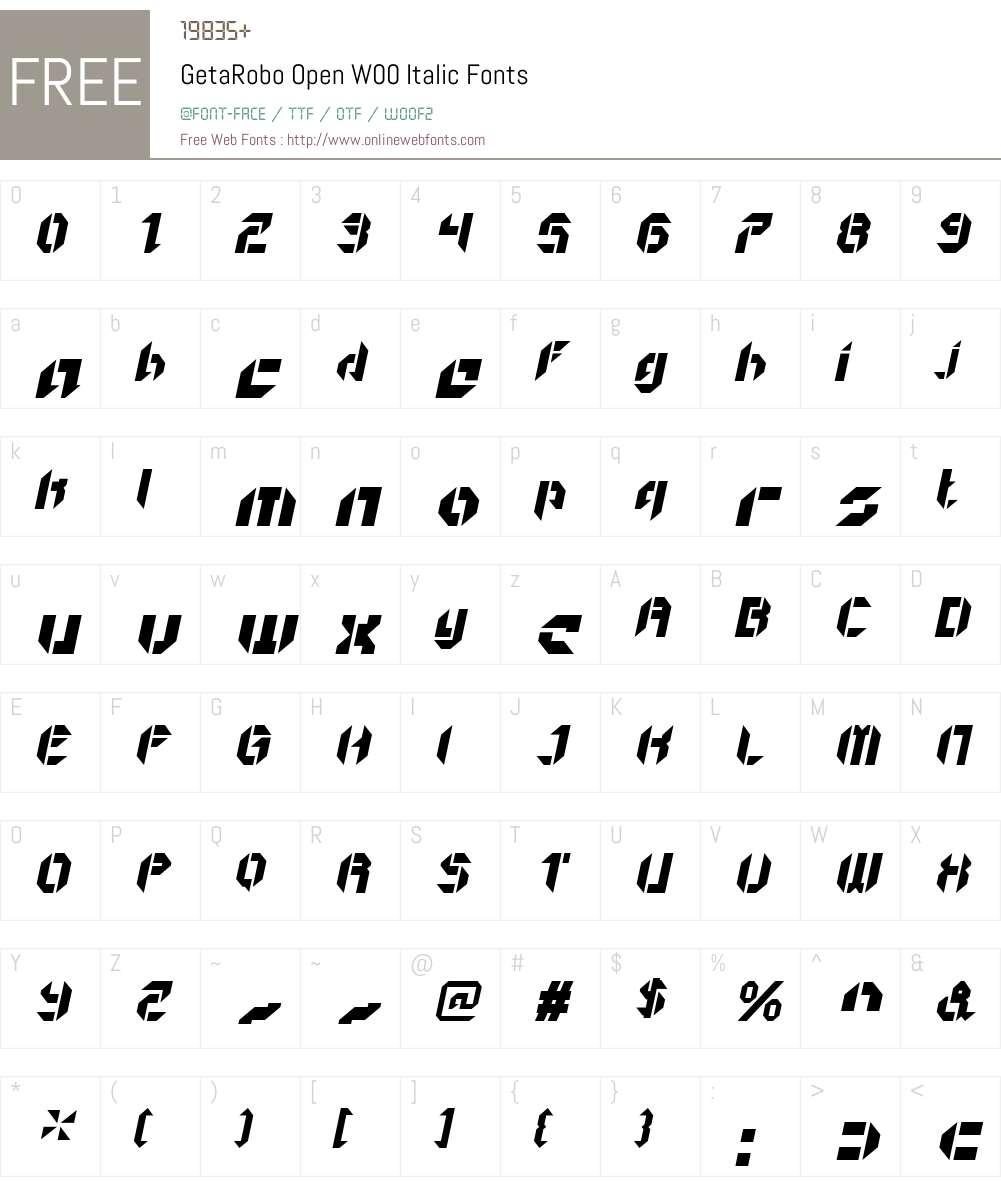 GetaRoboOpenW00-Italic Font Screenshots