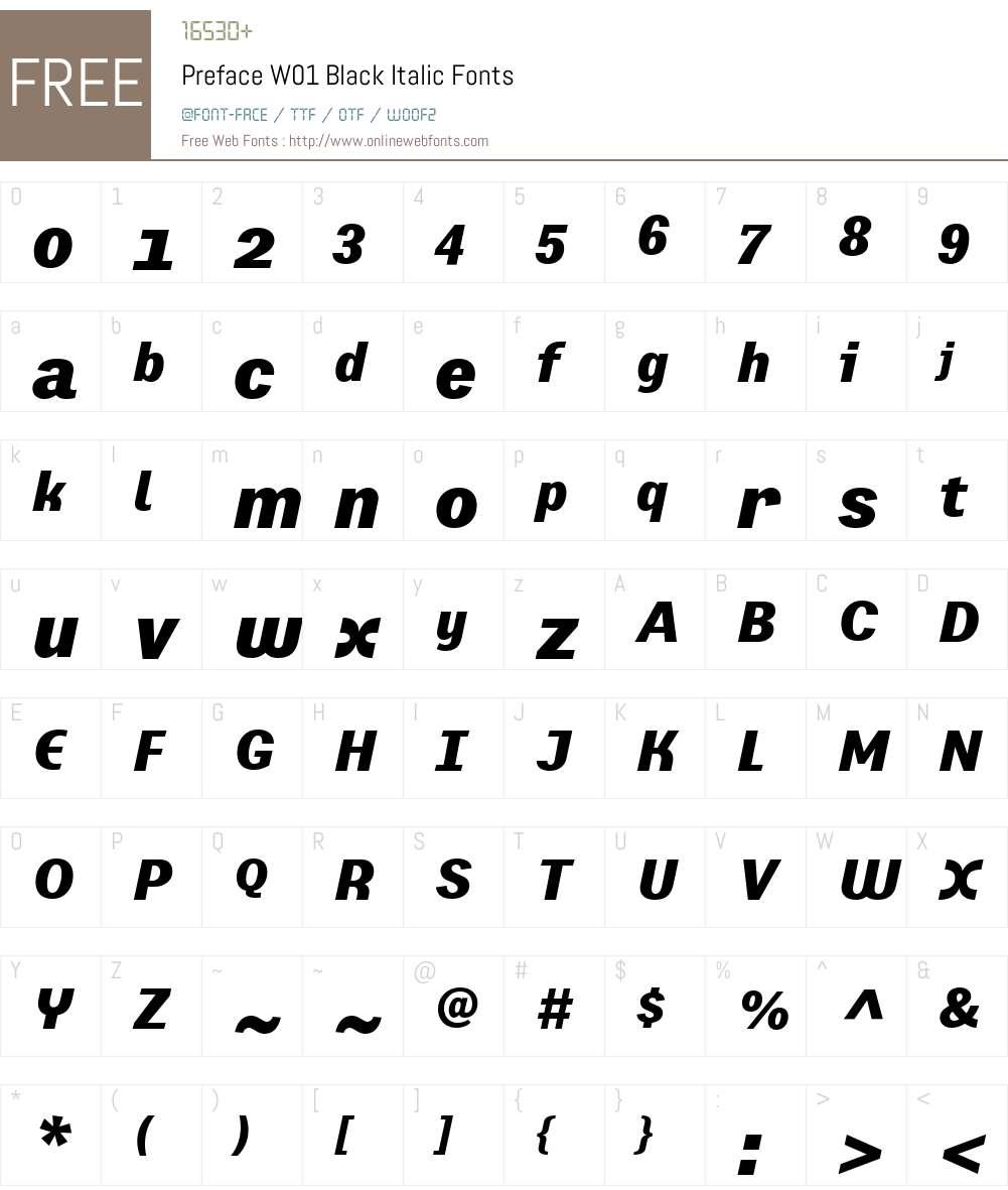 PrefaceW01-BlackItalic Font Screenshots