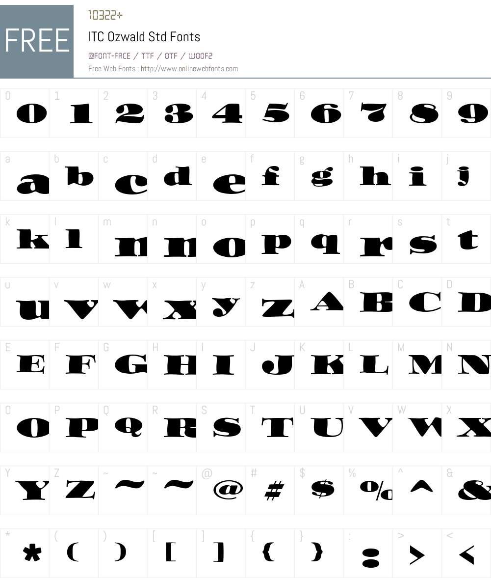 ITC Ozwald Std Font Screenshots