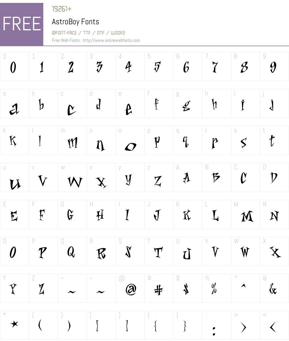 AstroBoy Font Screenshots