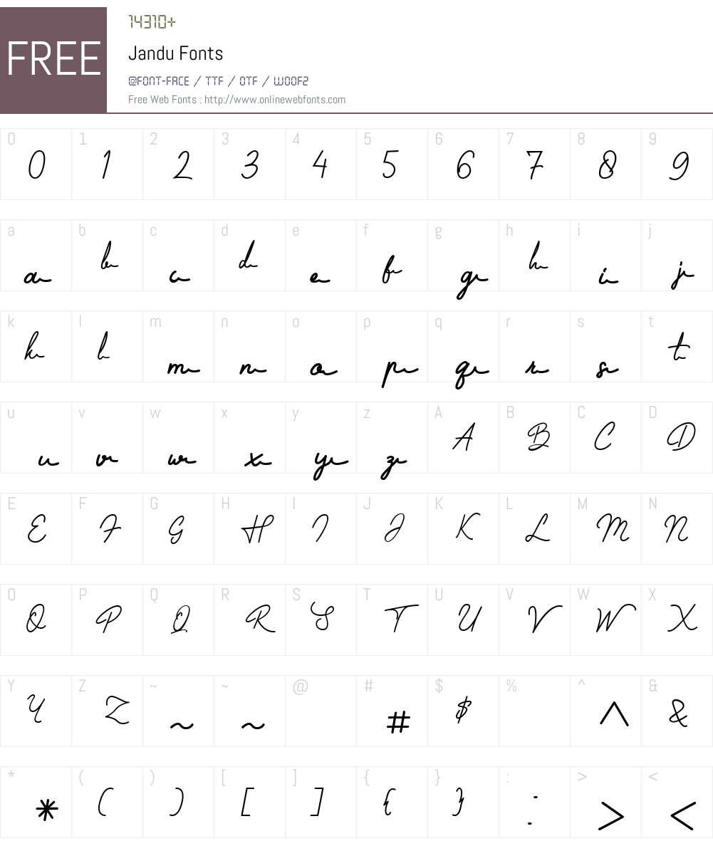 Jandu Font Screenshots
