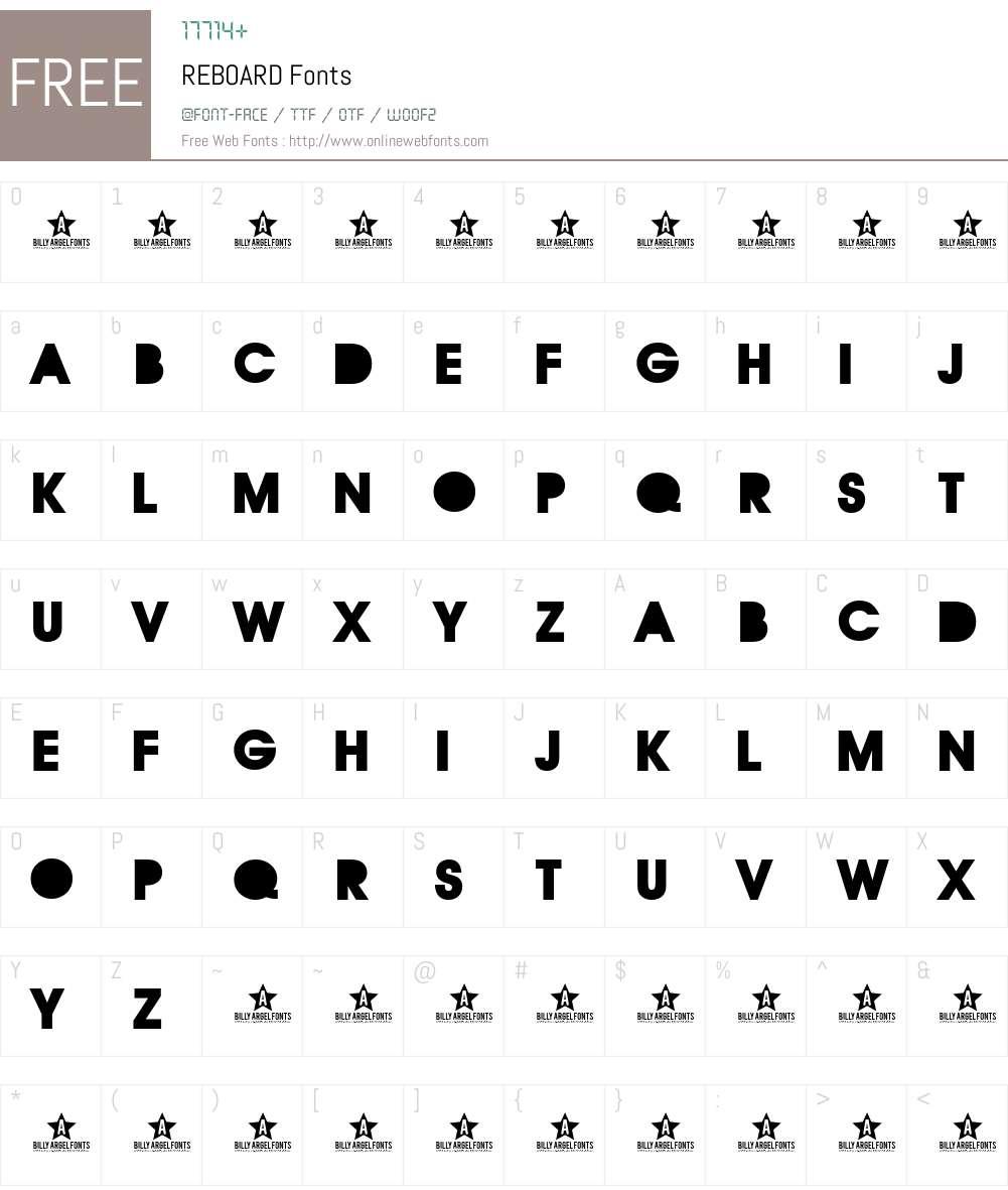 REBOARD Font Screenshots