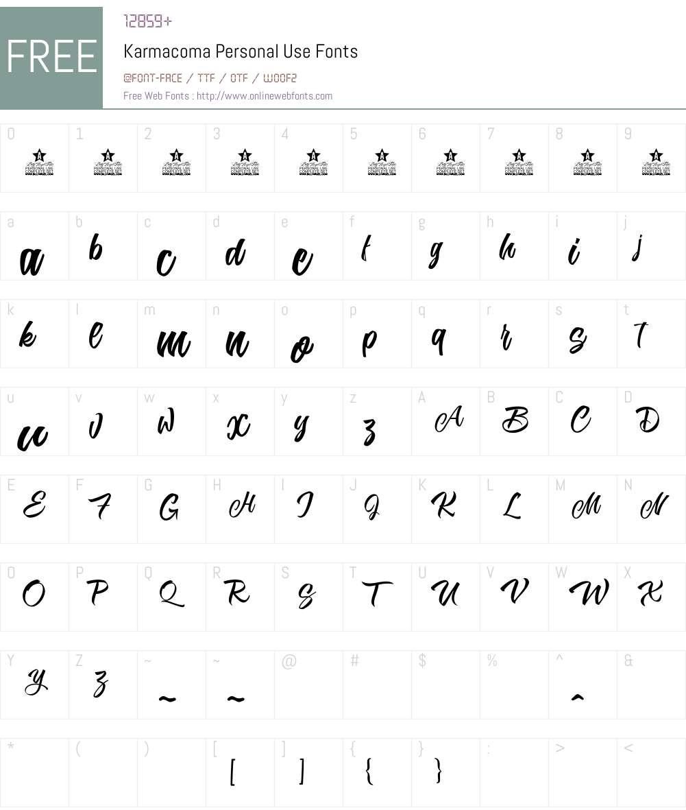 Karmacoma Personal Use Font Screenshots