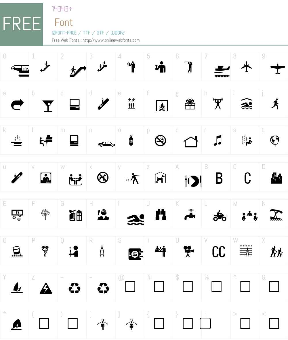 PIXymbolsHotel Font Screenshots