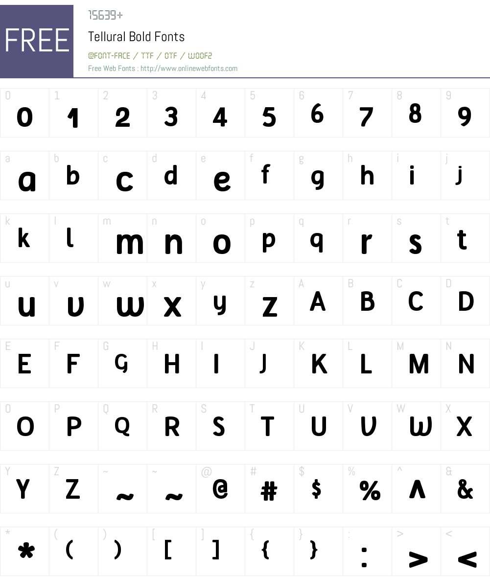 Tellural Font Screenshots