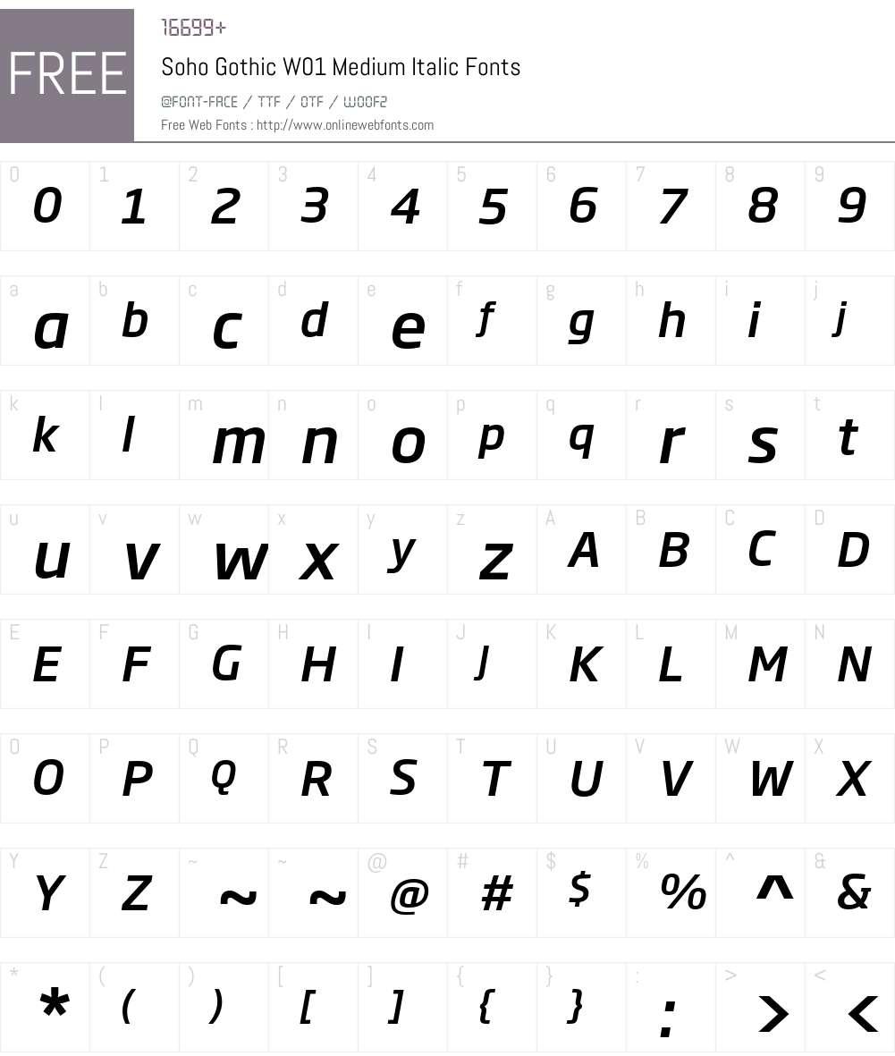 SohoGothicW01-MediumItalic Font Screenshots