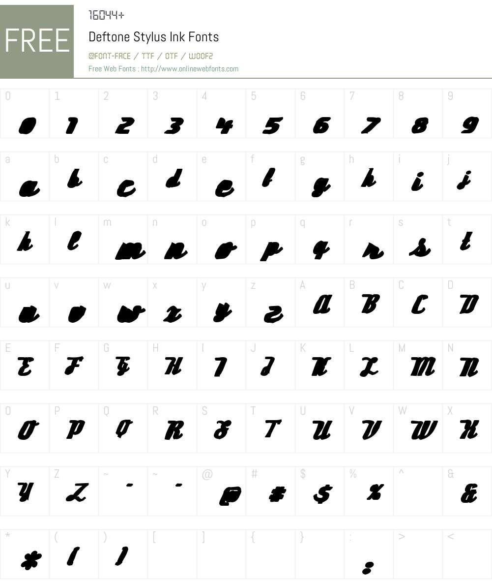 Deftone Stylus Ink Font Screenshots