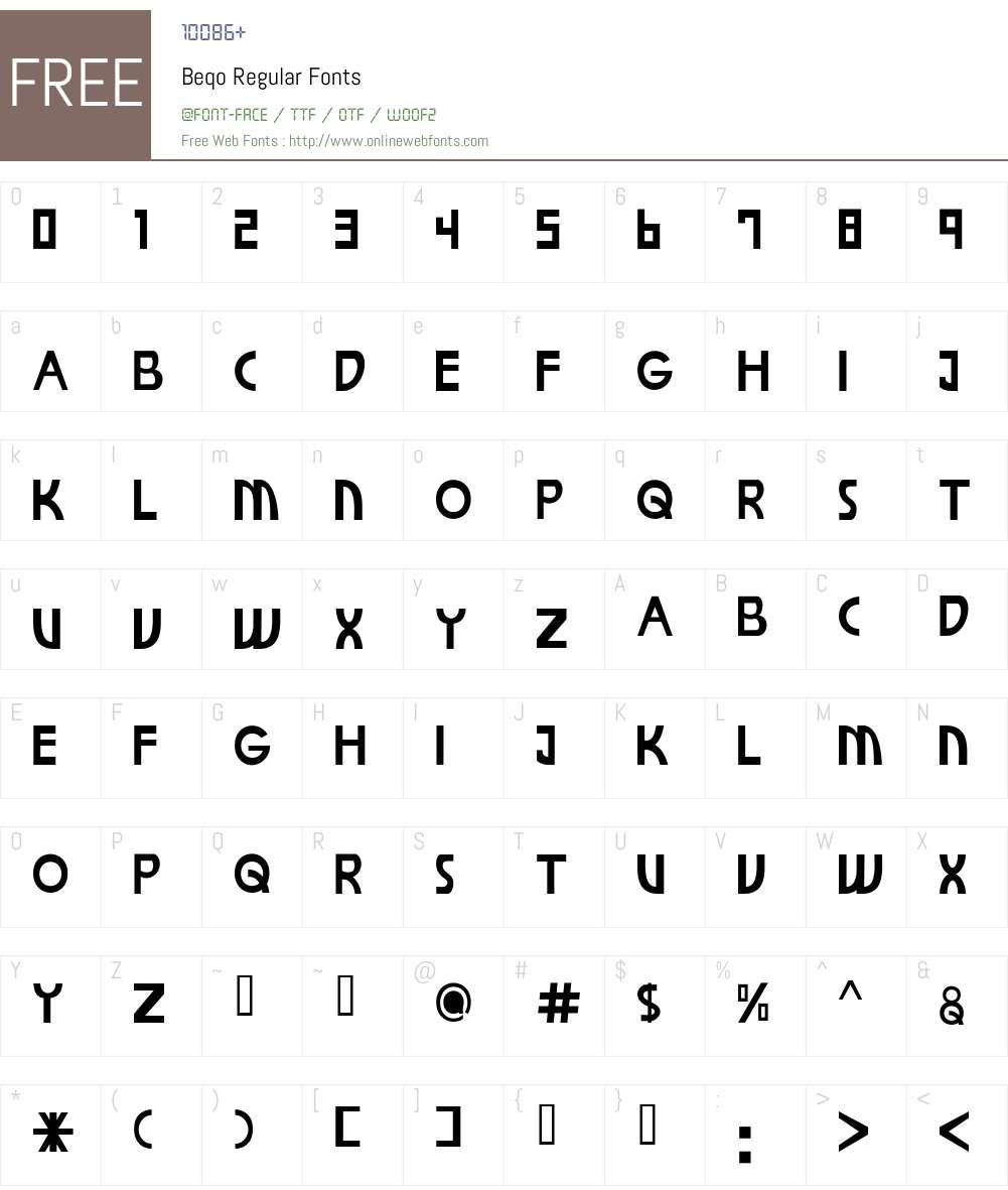 Beqo Font Screenshots