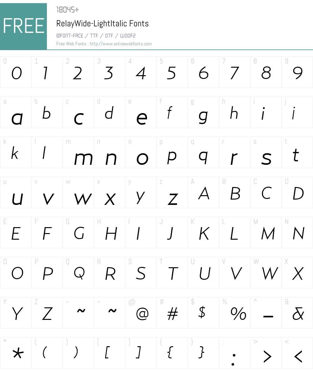 RelayWide-LightItalic Font Screenshots