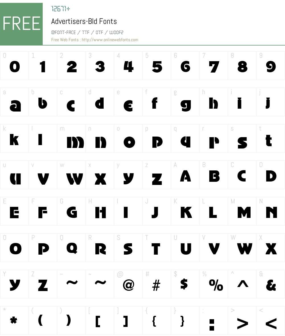 Advertisers Font Screenshots