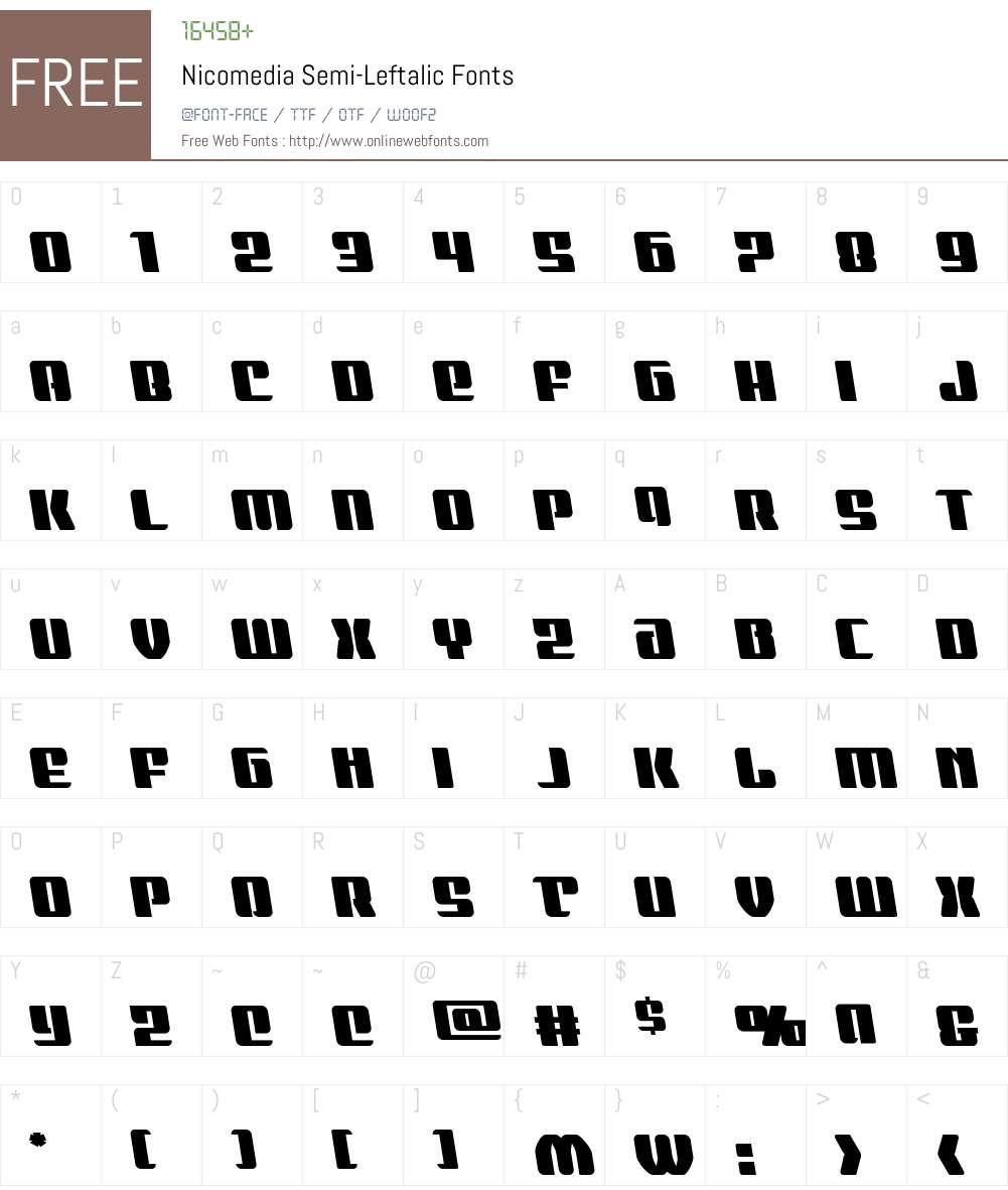 Nicomedia Semi-Leftalic Font Screenshots