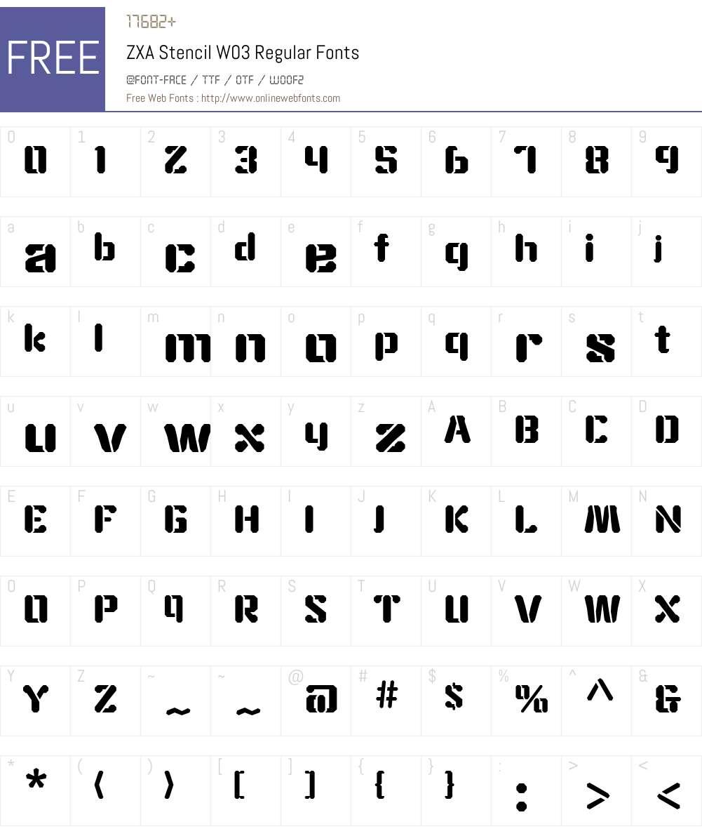 ZXAStencilW03-Regular Font Screenshots