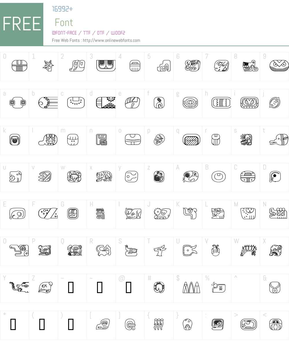 mayan glyphs outline Font Screenshots
