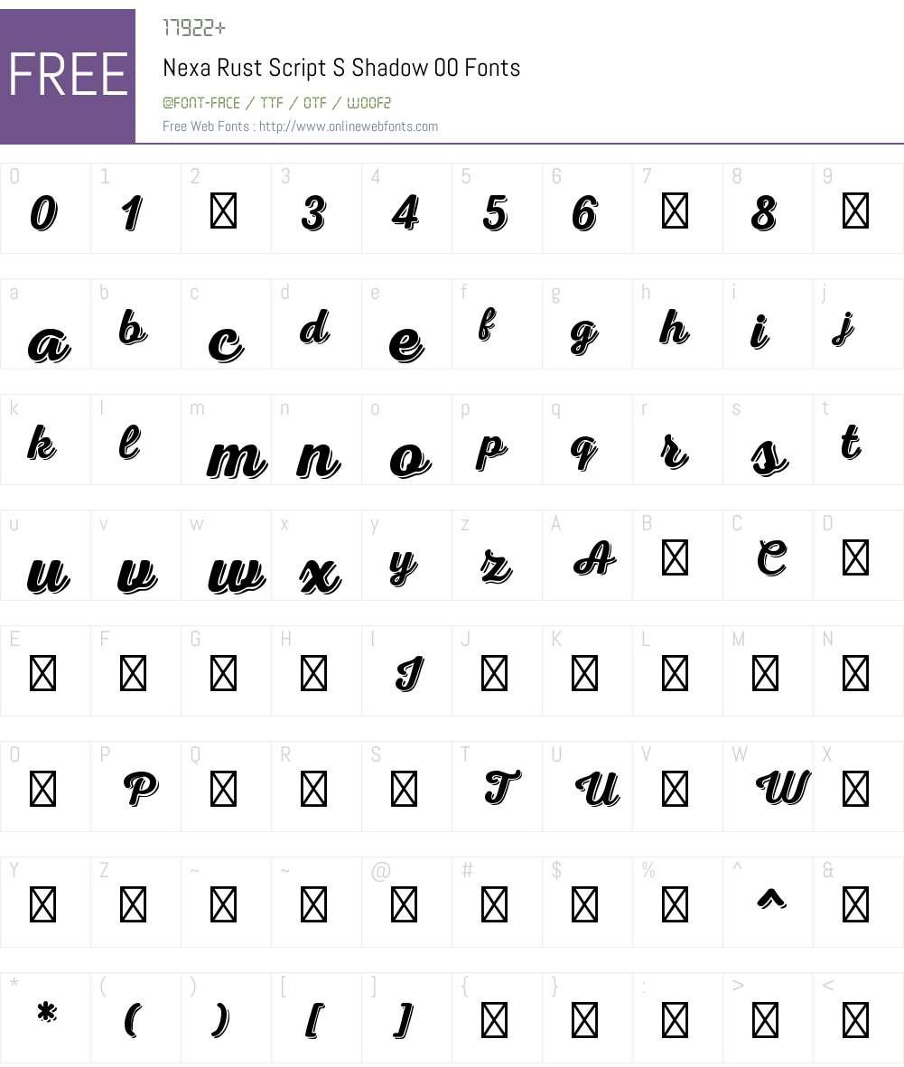 NexaRustScriptS-Shadow00 Font Screenshots